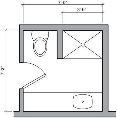 three quarter bath floor plan   Small Bathroom   Pinterest