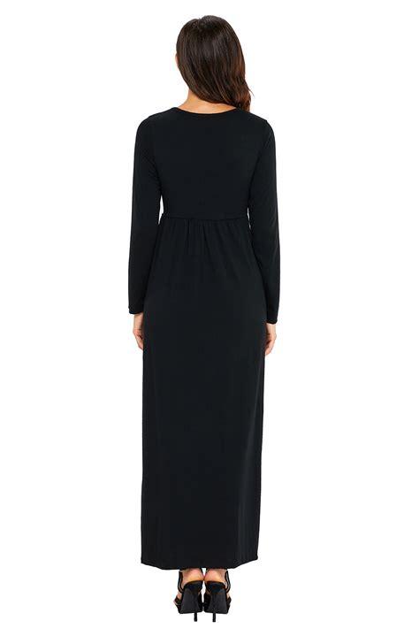 Maxi Jersey wholesale black sleeve high waist maxi jersey dress