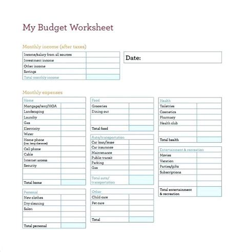 my budget worksheet wiildcreative