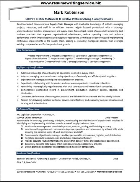 Supply Chain Manager Resume by Supply Chain Manager Resume Sle Resume Writing Service
