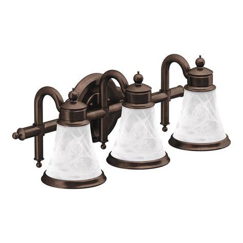 moen bathroom light fixtures moen yb9863orb waterhill three globe bath light