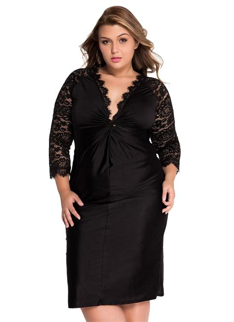plus size cocktail dress with sleeves black xxl plus size cocktail dress with lace sleeves chicuu
