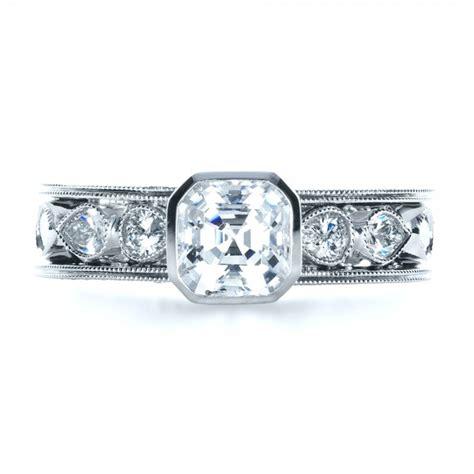 Custom Bezel Set Diamond Engagement Ring #1282