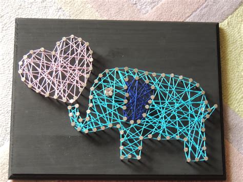 Diy Nail And String - elephant family string diy crafts