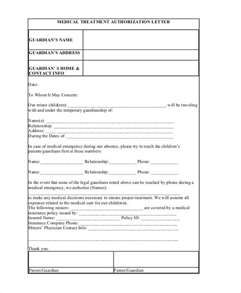 treatment authorization letter for a minor sle authorization letter 6 documents in pdf