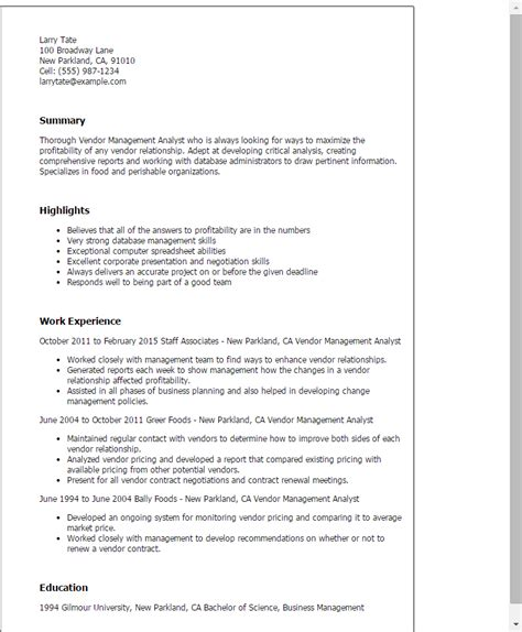 vendor management analyst resume template best design