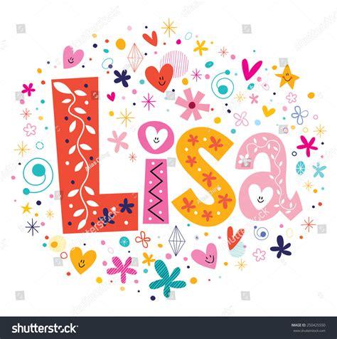 decorative design types lisa female name decorative lettering type stock vector