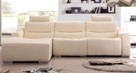 white leather reclining sectional off white leather 2143 modern reclining sectional sofa by esf