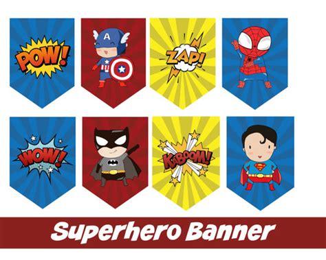 printable superhero banner instant download super hero accent banner printable file