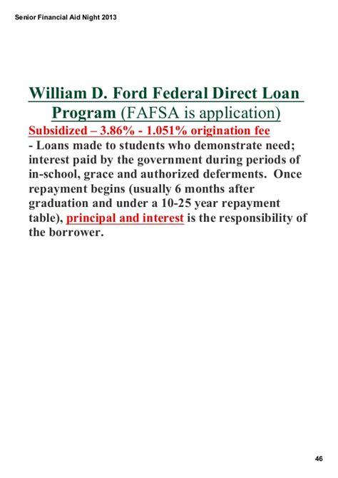 William D Ford Federal Direct Loan Senior Financial Aid 2013