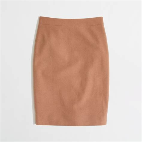 j crew factory pencil skirt in doubleserge wool in brown