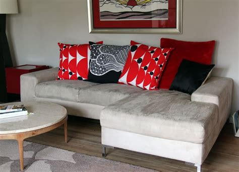 big pillows for couches contemporary design living space with decorative red large