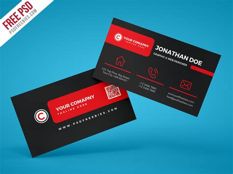 address card template psd black corporate business card psd template psdfreebies