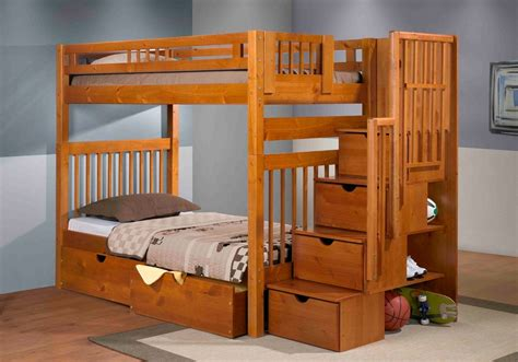 Bunk Beds With Stair Staircase Bunk Bed Pecan Mattress Superstore