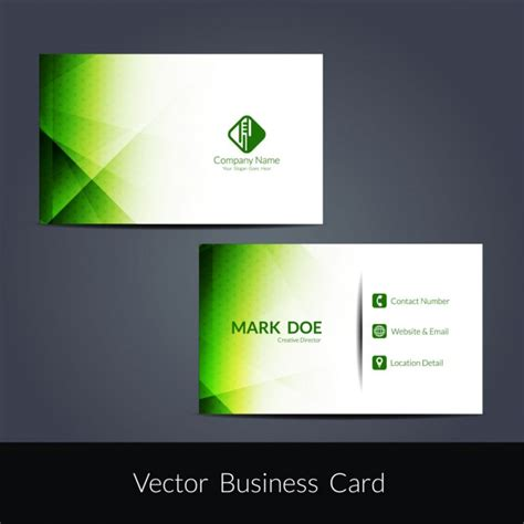 modern tri color business card template for professional green color modern business card design vector free