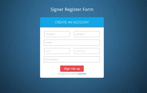 Signer Register Form Flat Responsive Widget Template By W3layouts Registration Web Page Template
