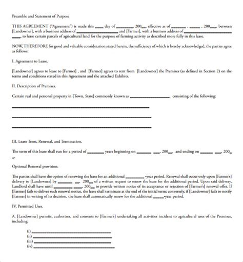 term lease agreement template sle land lease agreement template 10 free documents