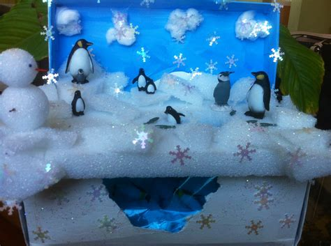 K 3d Polar Kid penguin habitat classroom shoe box projects penguin habitat penguins box and