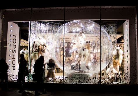 topshop window display globes giant snowglobe