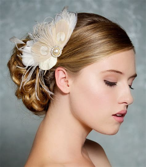vintage bridesmaid hair pieces ivory bridal hair accessories chagne peacock by