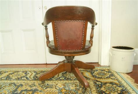 antique bankers chair original leather seat cushion