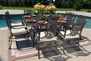 Patio Dining Sets For Eight Serena Luxury 8 Person All Welded Cast Aluminum Patio
