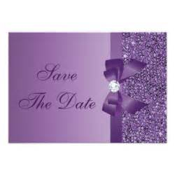 purple printed sequins wedding save the date 3 5x5 paper invitation card zazzle