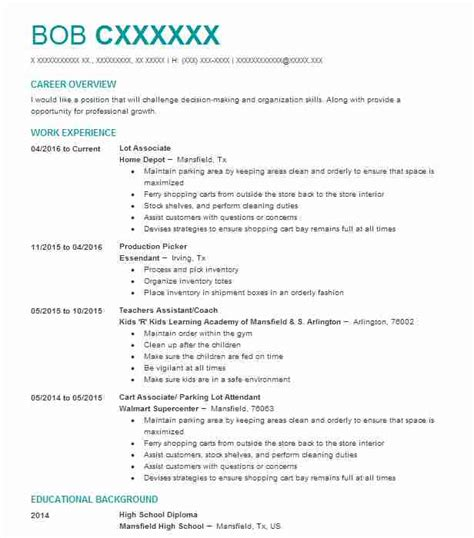best part time lot associates resume exle livecareer
