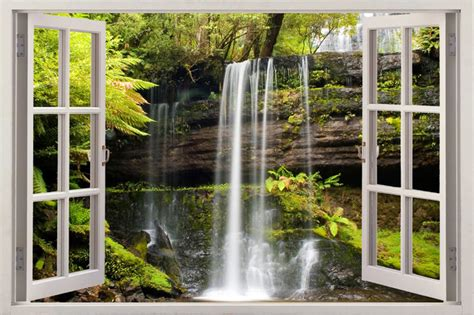 Kitchen Wall Art Stickers waterfall 3d window view removable decal home decor mural