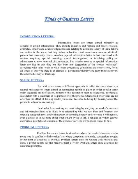 Types Business Letter Writing Format types of letters format benjaminimages