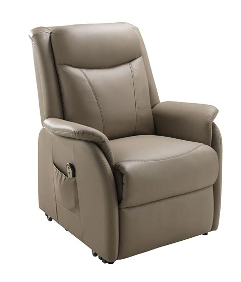 fauteuil en cuir avec releveur electrique de relaxation taupe braga