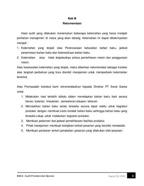 Pesanan An Sadit audit produksi dan operasi