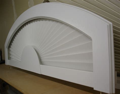 Fan Shades For Arched Windows Designs Arched Window Treatment Products Eyebrow Arch In Basswood White With Decorative Frame