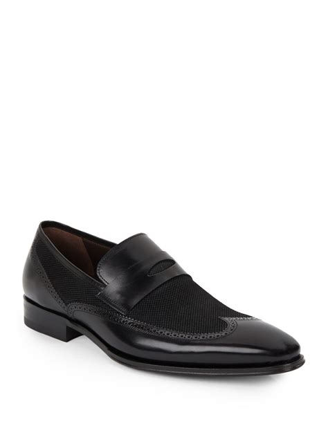 mezlan loafer lyst mezlan embossed suede leather loafers in black
