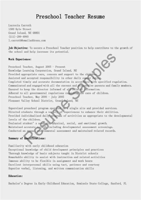 Sle Resume Format Teachers kindergarten resume description resume ideas