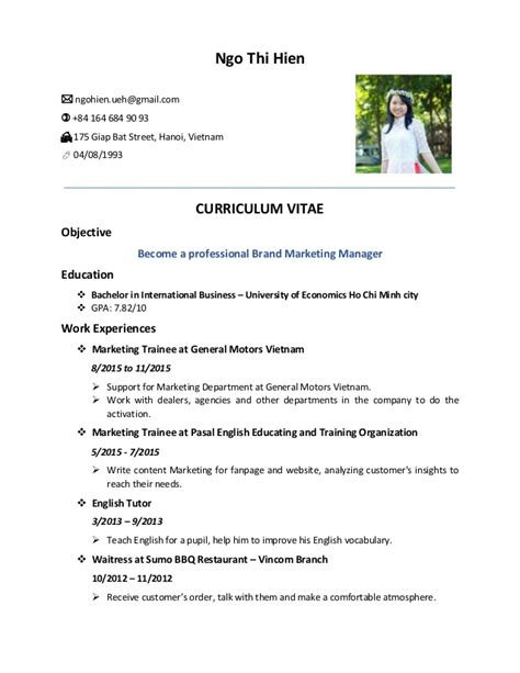 resume format for ngo in india ngo thi hien cv