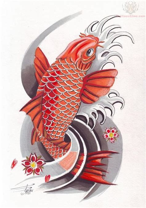 colorful koi fish tattoo design ink pinterest koi
