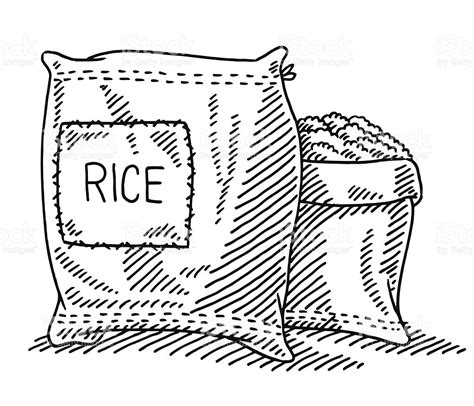 Rice Outline by Sack Of Rice Drawing Stock Vector More Images Of Agriculture 495305209 Istock
