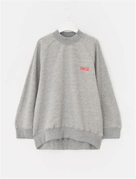 Oversized Lettering Sweatshirt 8seconds half neck lettering oversized sweatshirt grey