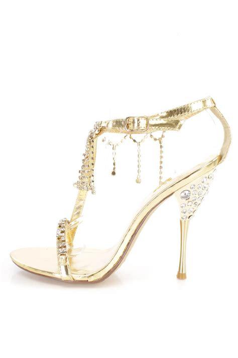 gold rhinestone high heels gold rhinestone dangle strappy high heels faux leather