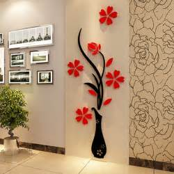 Home Decals For Decoration 3d plum vase wall stickers home decor creative wall decals living room
