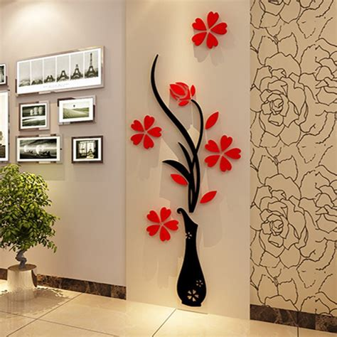 home decor for living room walls 3d plum vase wall stickers home decor creative wall decals