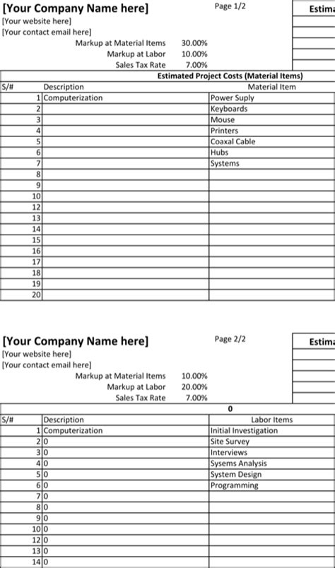 Editable Spreadsheet Html by Blank Estimate Template For Free Formtemplate