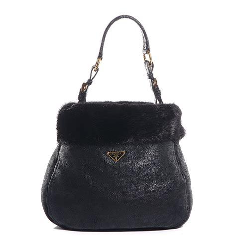 Prada Big Lambskin And Mink Handbag by Prada Shearling Mink Fur Crocodile Shoulder Bag Nero Black