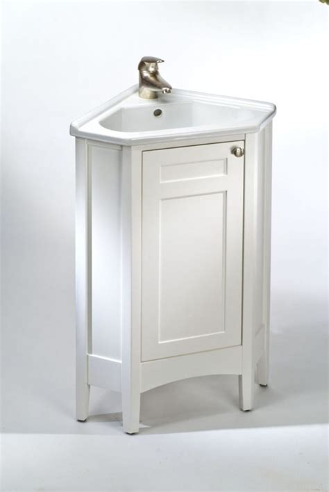 Furniture bathroom with white wooden corner sink vanity using steel faucet as well as vanity in