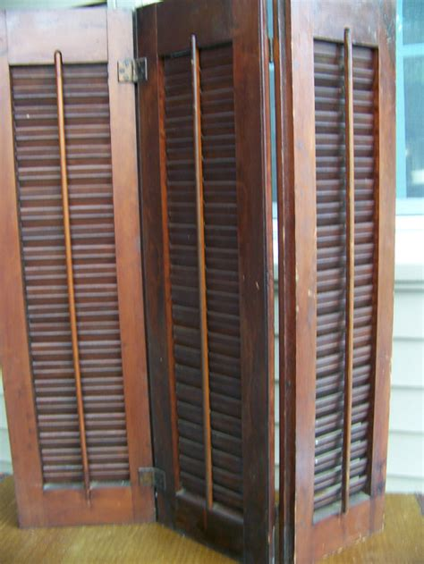 Wooden Louvered Shutters Interior by Vintage Shutters Wood Tri Fold Movable Louvered Interior