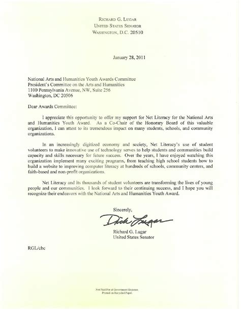 Exle Of Letter Of Endorsement For Award Senator Lugar And Congressman Carson Endorse Net Literacy S Nomination For The National Arts
