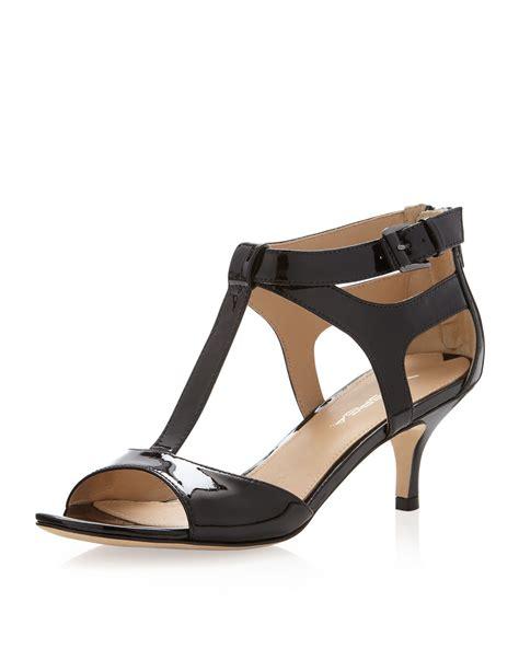 black heels sandals via spiga lindsie patent tstrap kitten heel sandal in