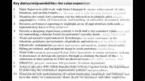 Sales Supervisor Description by Sales Supervisor Description