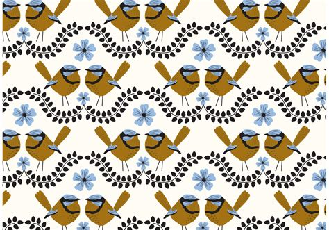 pattern repeat motif blue wren repeat pattern download free vector art stock